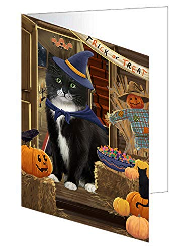 Doggie of the Day Enter at Own Risk Trick or Treat Halloween Tuxedo Cat Greeting Card GCD63986 (20) by Doggie of the Day