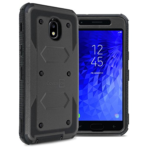 Samsung Galaxy J3 2018 Case, Express Prime 3 / J3 Star / J3 Prime 2 / Amp Prime 3 / Eclipse 2 / J3 Aura/Galaxy Achieve Case, CoverON [Tank Series] Full Body Phone Cover with Tough Faceplate - Black