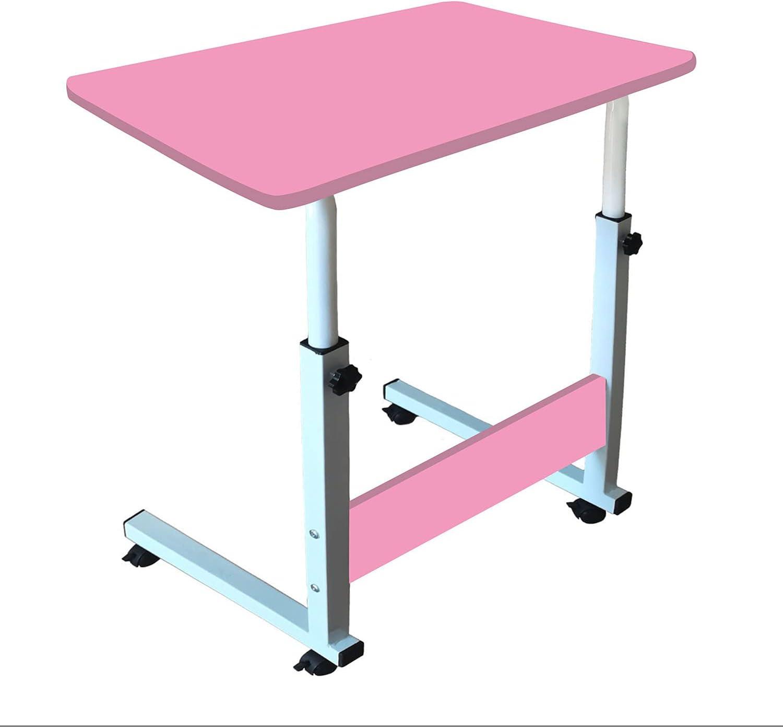 Laptop Desk, Home Office Desk, Student Desk, Adjustable Laptop Desk, Sofa Table, Mobile Bedside Table, Living Room Bedroom Table, Bed-Ridden Elderly Dining Table(Pink)