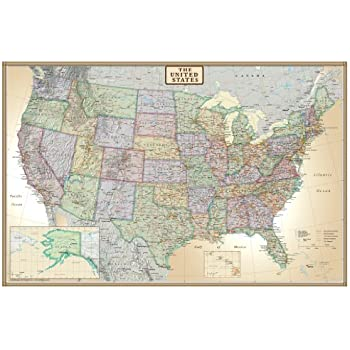 Amazoncom United States USA US Classic Wall Map Poster Mural - A map of the united states of america