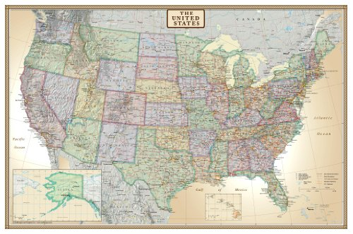Laminated Rolled Map - 24x36 United States, USA US Executive Wall Map Poster Mural (24x36 LAMINATED)
