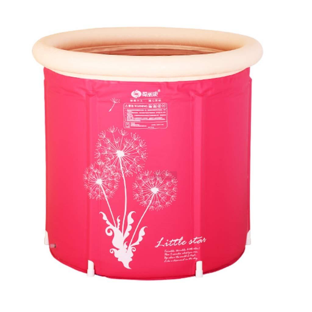 Bathtub Bathtub Household Foldable Bathtub Body Thicken Bathtub Portable Inflatable (Color : Pink, Size : 75x70cm)