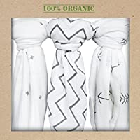 Organic Muslin Swaddle Blankets, Get the Safe & Soft Cuddly Feel - 2 Bibs Gif...