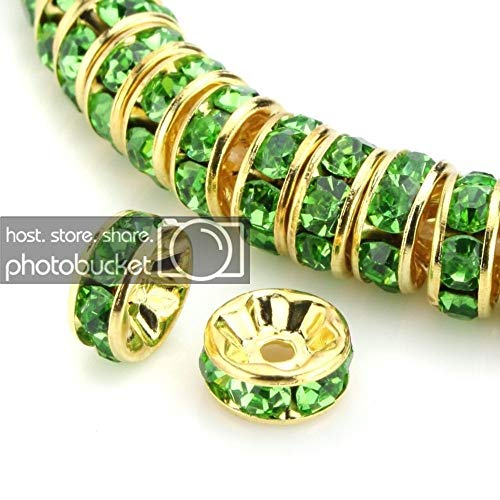 100pcs Best Quality Rondelle Spacer Beads 8mm Peridot Green Top Quality Austrian Crystal Rhinestone 14k Gold Plated Copper Brass CF4-816 ()