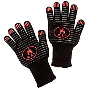 M&P Premium Oven Gloves With Fingers. Extreme Heat Resistant Up To 932°F To Keep You Safe. EN407 certified. Good For Outdoor/BBQ/Grilling/Cooking/Baking. Black With Silicone Grip.1 Pair (Long).