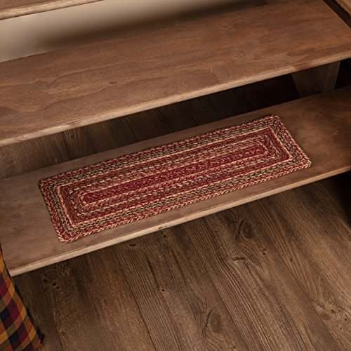 VHC Brands 45591 Burgundy Red Primitive Country Flooring Cider Mill Jute Stair Tread with Latex ()