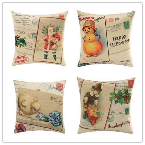 Kissmuyan 20x20 Inch Vintage Merry Christmas Happy Halloween Thanksgiving Day Santa Claus Linen Throw Pillow Case Cushion Cover Home Décor for Sofa Car Halloween (Set of 4) ()