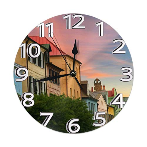 - Rainbow Row In Historic Downtown Charleston, South Carolina Clock Number Decorative Wall Clock Non-Ticking Digital Plastic Battery Operated Round Easy To Read Home/Office/School Clock