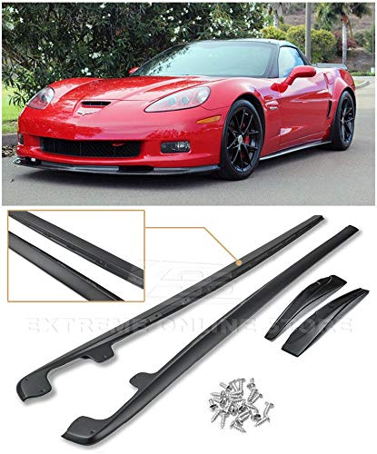 Extreme Online Store for 2005-2013 Chevrolet Corvette C6 Grand Sport & Z06 | EOS ZR1 Style Side Skirts Rocker Panels with Mud Flaps Pair (ABS Plastic - Primer Black)