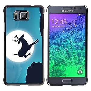 LECELL -- Funda protectora / Cubierta / Piel For Samsung GALAXY ALPHA G850 -- Moonlight Jumping Stag --