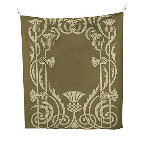 Anshesix Art Nouveau Tapestry Throwing Blanket Floral Border with Tropical Pineapple Fruits Leaves Retro Style Swirls Bedroom Tapestry 60W x 91L INCHSepia Sage Green