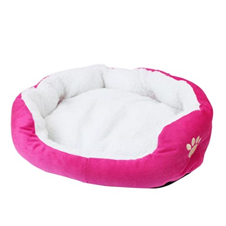 Wicemoon Cama para Perros Gato Mascota Cama Caseta Invierno Cálido Mantener Lavado Bar, Rose/