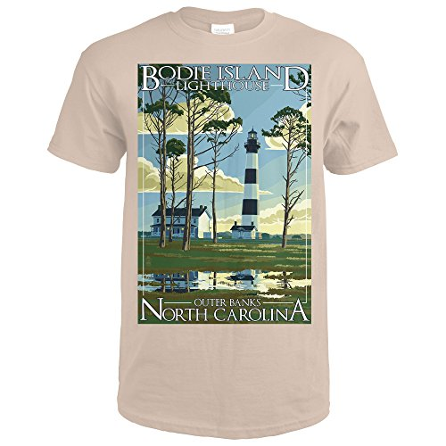 Outer Banks, North Carolina - Bodie Island Lighthouse (Sand T-Shirt Large) (T-shirt Island Lighthouse)