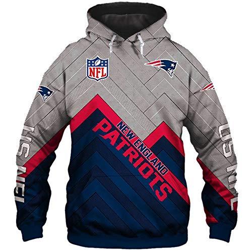 NFL Sudaderas con Capucha de fútbol Americano para Unisexo – Sudadera de Manga Larga con Logo de Jersey