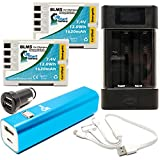2-Pack Olympus E-30 Battery with Universal Charger, 3000mAh Portable External Battery Charger, Dual USB Car Plug & Multiple USB Cable - Replacement Olympus BLM5 Digital Camera Battery and Charger