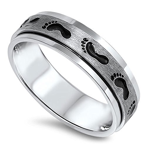 Spinner Footprint Baby Classic Ring 316L Stainless Steel Brushed Band Size (Footprints Band Ring)