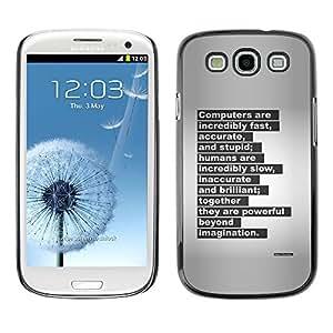 Libro Máquina de escribir Carta cita inspiradora- Metal de aluminio y de plástico duro Caja del teléfono - Negro - Samsung Galaxy S3