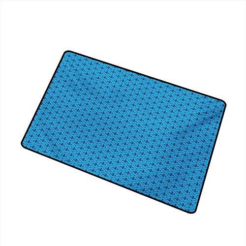 BeckyWCarr Fleur De Lis Commercial Grade Entrance mat Diagonal Lines Rectangle Frames Traditional Abstract Lily Shape Monochrome for entrances, garages, patios W29.5 x L39.4 Inch,Blue Dark ()