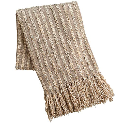 Pier 1 Imports Neutral Tan Chenille Seed Stitch Throw Blanket ()