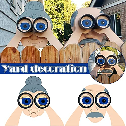 Fence Decoration Nosy Old Man and Lady, Garden Courtyard Art Courtyard Art Decoration (B)
