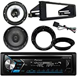 "Pioneer DEH-X4900BT Bluetooth CD Stereo Audio Receiver - Bundle Combo With 2x Kenwood 6.5"" Inch Black Coaxial Speakers W/ Adapter Brackets + Radio Dash Kit For 1998-2013 Harley Motorcycle Bikes"