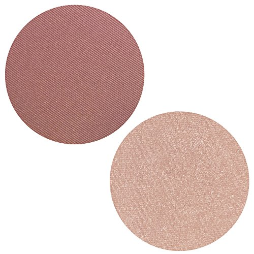 Powder Blush Highlighter Duo Palette - 2 Set Pink Matte Pearl Blusher with Highlighting Kit for Face, Magnetic Refill Pans 37mm, Professional Quality Makeup, Paraben Gluten Cruelty Free Cosmetics USA (Best Matte Highlighting Powder)