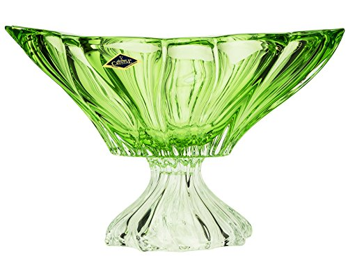 Aurum Crystal AU52043, 13-Inch Green Plantica Crystal Fruit Bowl on a Stem, Decorative Centerpiece Wedding Gift Platter, Clear Czech Crystal Footed Deep Plate, Bohemian Crystal