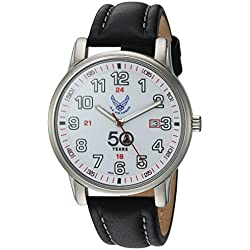 U.S. Air Force Wrist Armor Men's 'Franklin Mint' Swiss Quartz Stainless Steel and Leather Casual Watch, Color:Black (Model: 37FM0300101A)