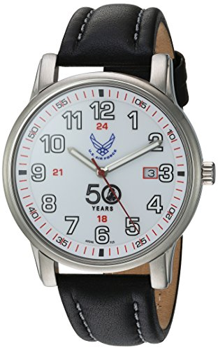 U.S. Air Force Wrist Armor Men's 'Franklin Mint' Swiss Quartz Stainless Steel and Leather Casual Watch, Color:Black (Model: 37FM0300101A) -  H. Best, Ltd.
