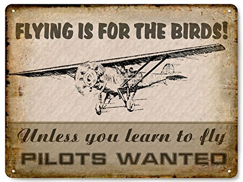 AIRPLANE METAL SIGN FLYING lessons / Pilot license training VINTAGE style wall decor art 0456