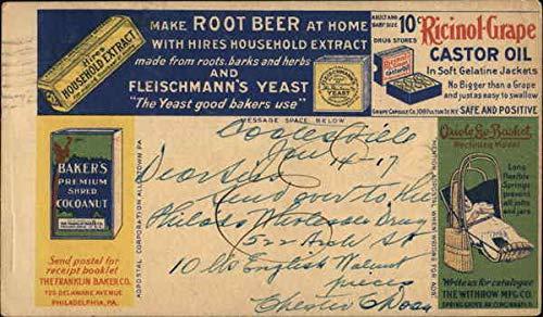 Vintage Advertising Postcard: Hires Household Extract, Castor Oil, Baker's Cocoanut, Oriole Go-Basket, Blue Label Ketchup