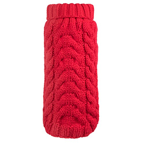 (The Worthy Dog Hand Knit Turtleneck Sweater for Dogs, Large, Red)