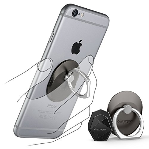 Spigen Style Ring Phone Grip Car Mount/Stand/Holder/Kickstand for iPhone 7/7 Plus/SE/6S/6/6S Plus/6 Plus/Google Pixel XL/Galaxy S8 / S8 plus / S7 / S7 edge and Almost All Cases/Phones - Space Gray