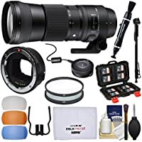 Sigma 150-600mm f/5.0-6.3 Contemporary DG OS HSM Zoom Lens (Canon EOS) & MC-11 Mount Converter + USB Dock + Filters + Monopod Kit Sony FE & E-Mount Cameras