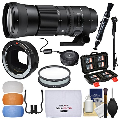 Sigma 150-600mm f/5.0-6.3 Contemporary DG OS HSM Zoom Lens (for Canon EOS) & MC-11 Mount Converter + USB Dock + Filters + Monopod Kit for Sony FE & E-Mount Cameras by Sigma (Image #9)