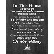 In This House We Do Disney - Poster Print Photo Quality - Made in USA - Disney Family House Rules - Frame not included (11x14, Chalkboard Background)