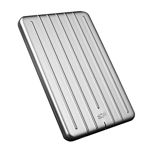 Silicon Power 2TB Slim & Rugged Portable External Hard Drive Armor A75, Shockproof USB 3.0 (USB 3.1 Gen 1), Ideal for PC, Mac, Xbox and PS4, with Nylon Braided Type C to A Cable, Silver