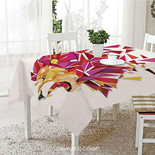 SCOXIXI Spillproof Tablecloth,Polygon Art Stylized Lion King Figure with in Gradient Tones Modern Art Print,Table Cloth for Kitchen Dinning Tabletop Decoration(60.23