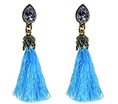 - IndigoEarrings Crystal Tassel Dangle Stud Earrings (Teardrop rhinestone turquoise blue tassel)
