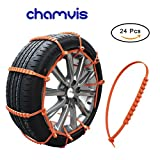 Snow Chains, Chamvis 24 PCS Portable Emergency Anti-Slip Chains, Nylon Tire Snow Chains for Small Car Coupe Off Road Vehicle