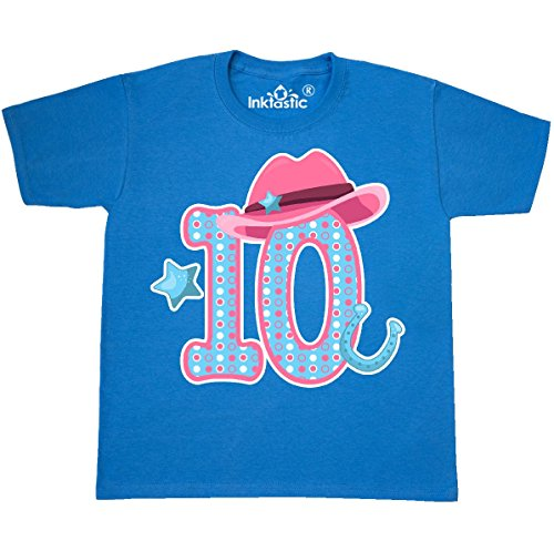 inktastic Ten With Cowgirl Hat Youth T-Shirt Youth Large (14-16) Pacific Blue