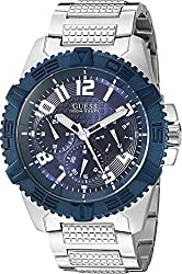 GUESS Men's U0800G1 Sporty Silver-Tone Stainless Steel Watch with Multi-function Dial and Pilot Buckle