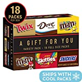 TWIX, SNICKERS, DOVE, M&M'S Milk Chocolate, M&M'S Peanut and SKITTLES Full Size Candy Gift Box, 31.08-Ounce Variety Box