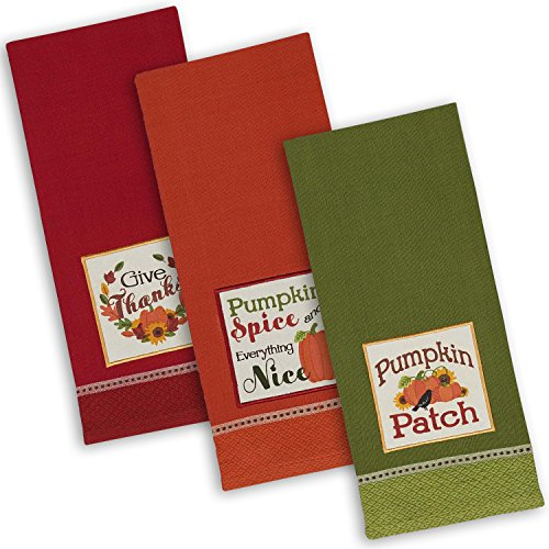 DII Cotton Thanksgiving Holiday Dish Towels, 18x28