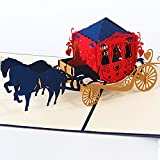Jerry & Maggie - Pop Up Greeting Card - Princess Carriage with Horse 3D Paper Greeting Thank You Card Handmade Halloween Christmas Thanksgiving Lacework Marriage Wedding Theme | Blue