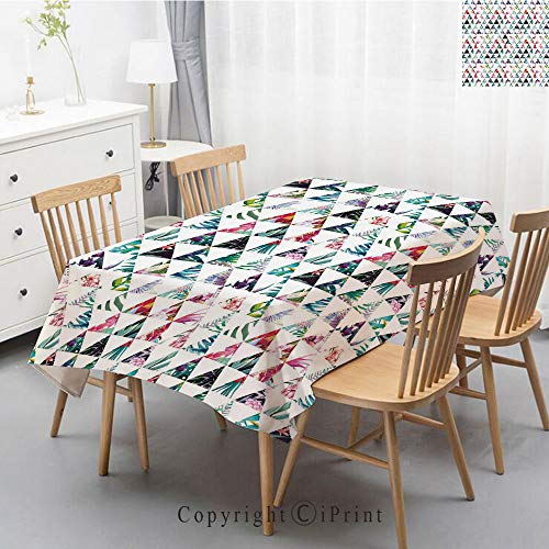 Jung Tropical Print - Washable Square Cotton Linen Print Tablecloth,Vintage Dinner Picnic Table Cloth Home Decoration Assorted Size,55x87 Inch,Watercolor,Tropical Exotic Triangles Abstract Geometric Pattern Palm Trees Jung
