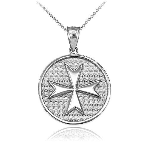 Sterling Silver Knights Templar Maltese Cross Medal Pendant Necklace (16)