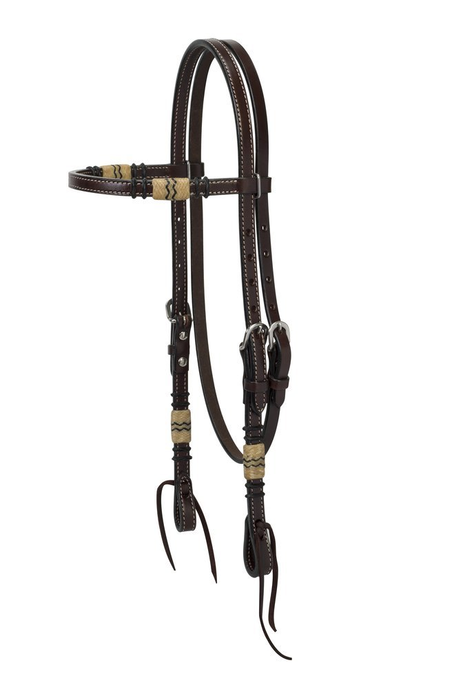 Turquoise Cross 45-0110 Rawhide Accented Browband Headstall, Horse Size, Dark Oiled   B00TZW3QG4