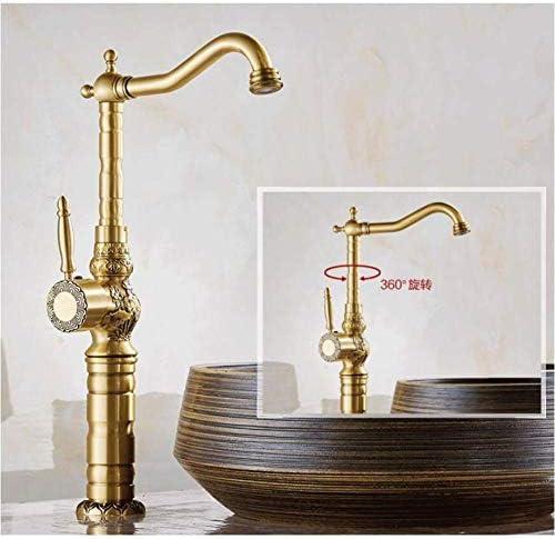 F-Hahn-Antike Messingbassin-Hahn geschnitzte Messing Crane Waschbecken Wasserhahn 360 Grad-Schwenker-Dual-Griff Küche Waschbecken Mischbatterien xuwuhz