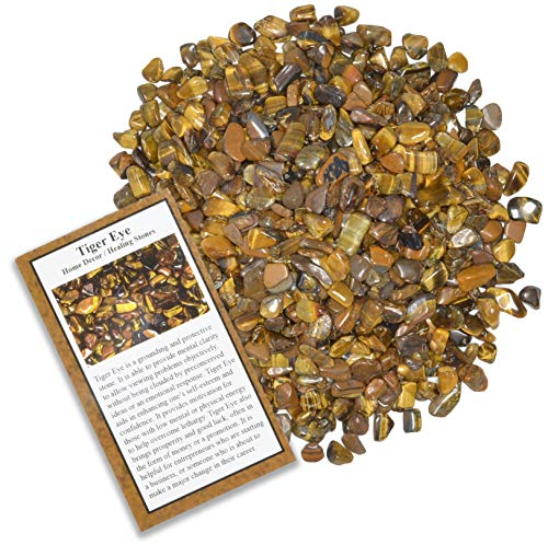 Fantasia Materials: 1 lb Tumbled Tiger Eye Chip Stones with ID Card - Natural Earth Mined Brazilian (Not China) Polished Rocks for Art, Crafts, Reiki, Jewelry Making, Home Decoration and More!